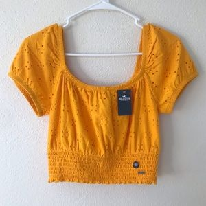 NWT Hollister Off the Shoulder Bright Marigold Top